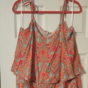 Womens All For Color Pink & Aqua Sundress Size L